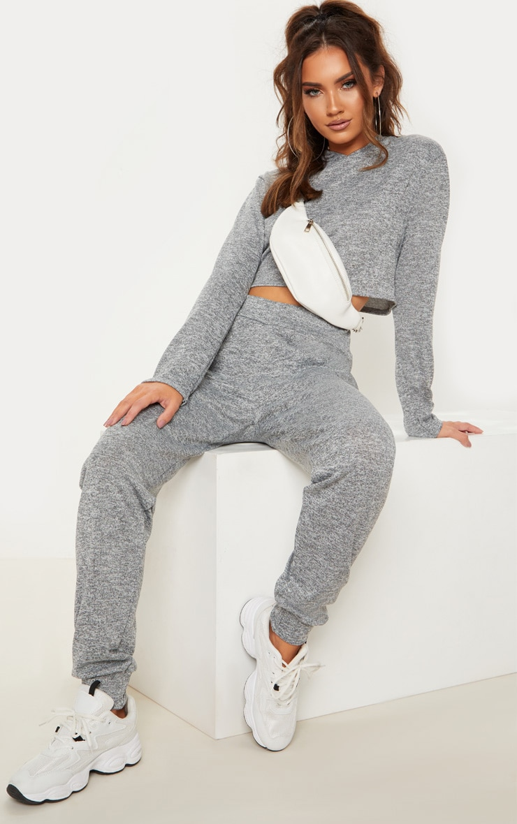 Grey Knitted Hooded Lounge Set 4