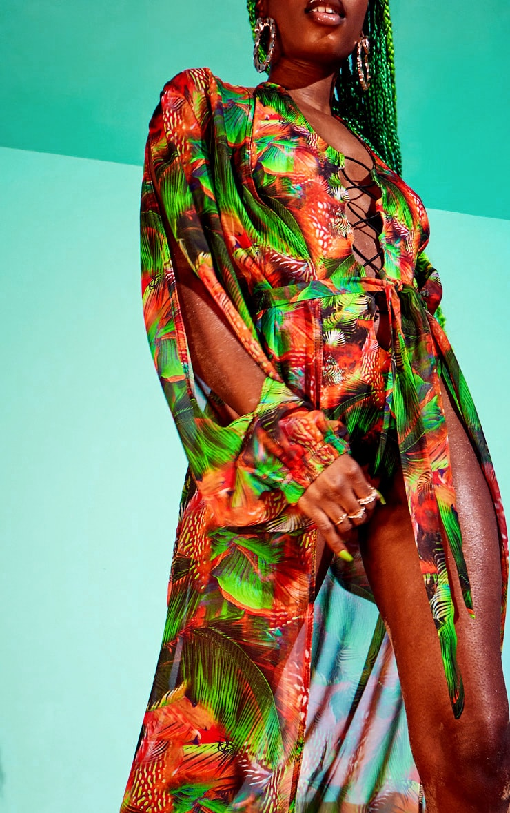 Red Jungle Print Split Sleeve Kimono 4