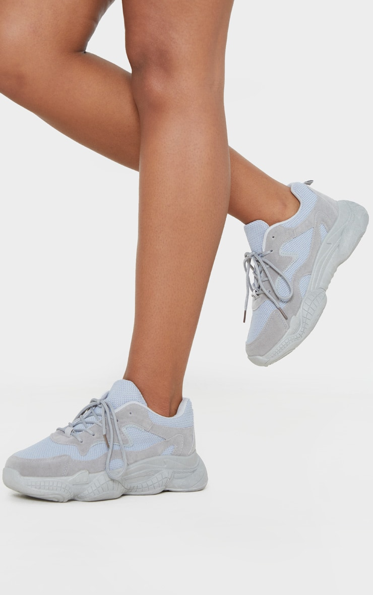 Grey Double Bubble Sole Lace Up Trainer 2