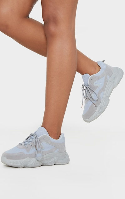 Grey Double Bubble Sole Lace Up Trainer
