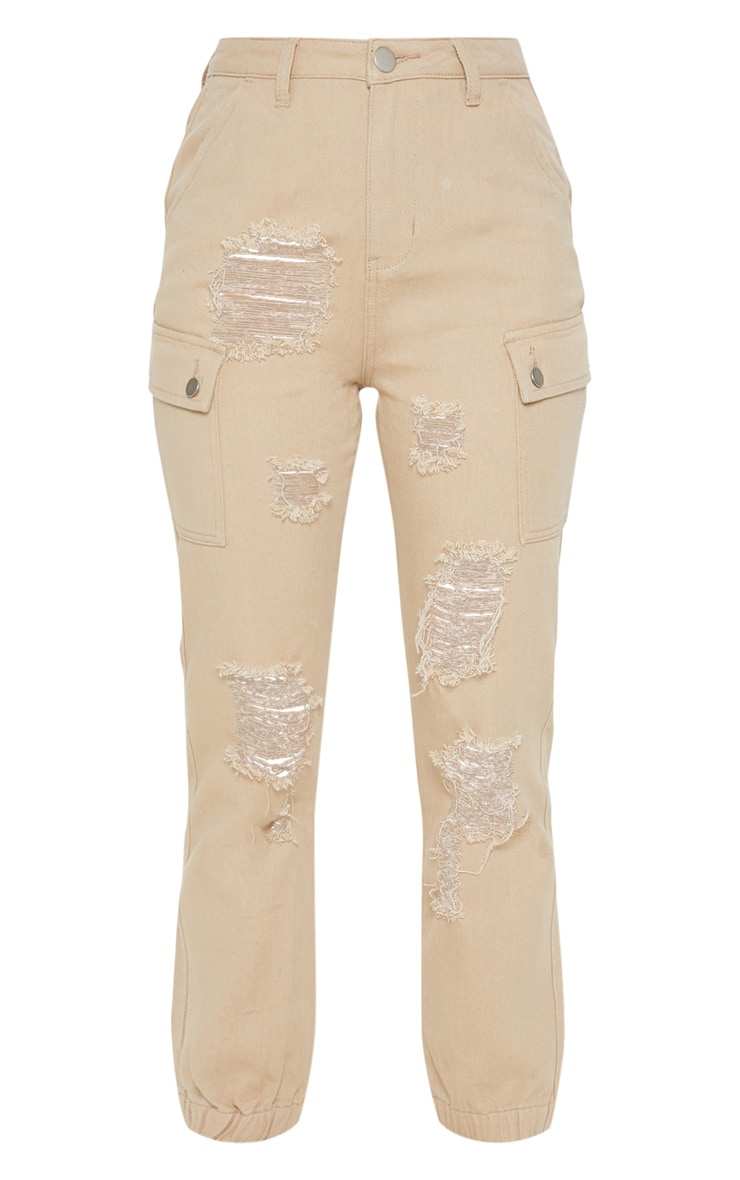 Stone Distressed Cargo Pocket Jeans 3