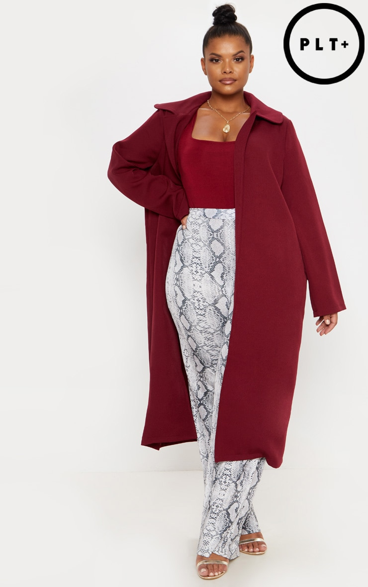 Plus Burgundy Longline Duster Coat by Prettylittlething