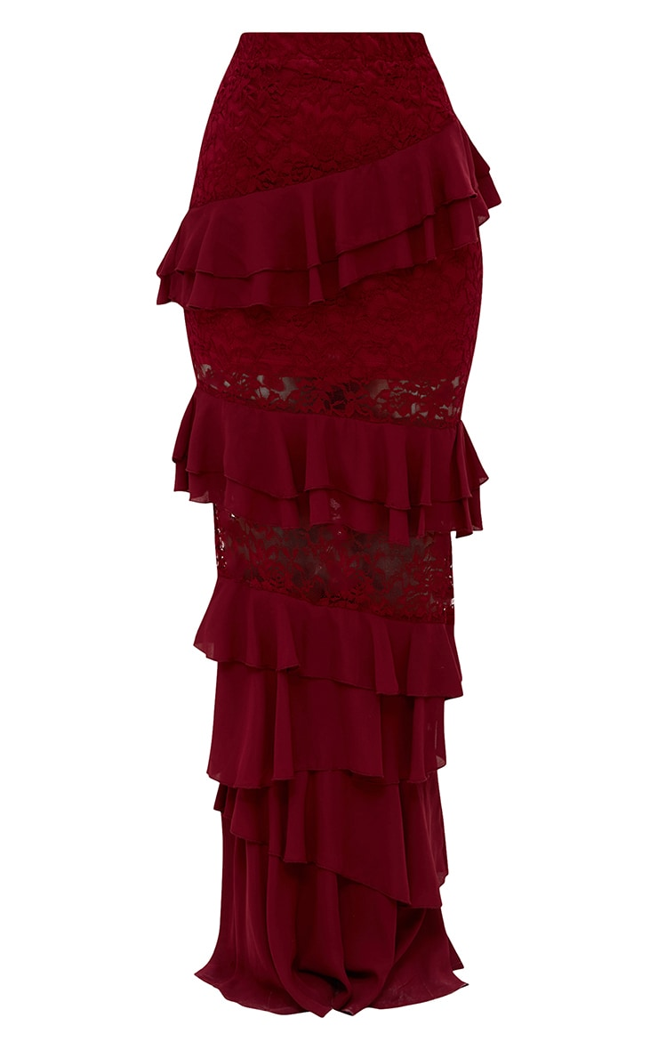 Burgundy Lace Frill Detail Maxi Skirt 4