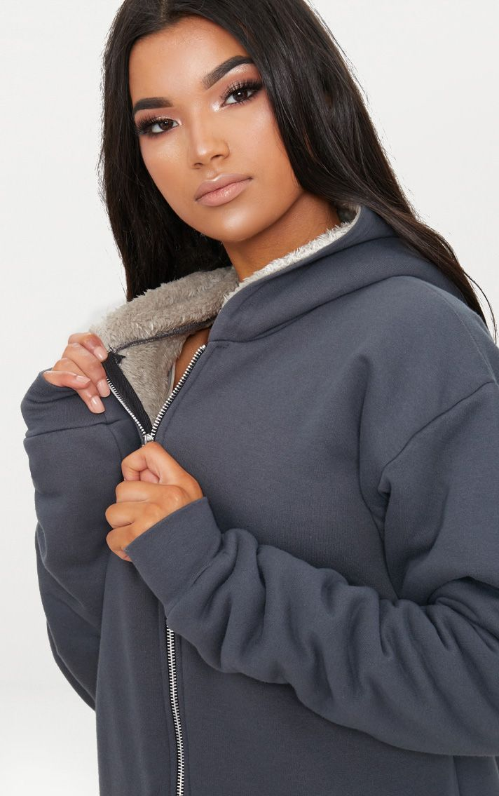 Charcoal Blue Oversized Borg Lined Zip Up Hoodie 4