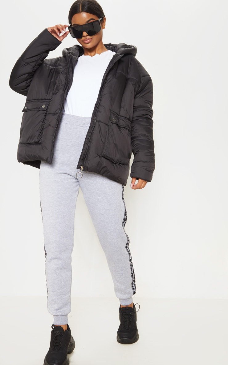 Black Pocket Front Hooded Puffer 4