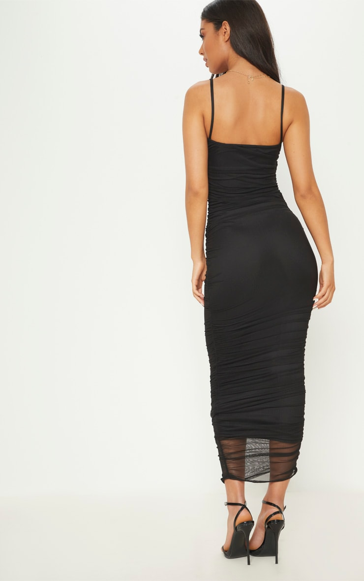 Black Strappy Mesh Ruched Midaxi Dress 2