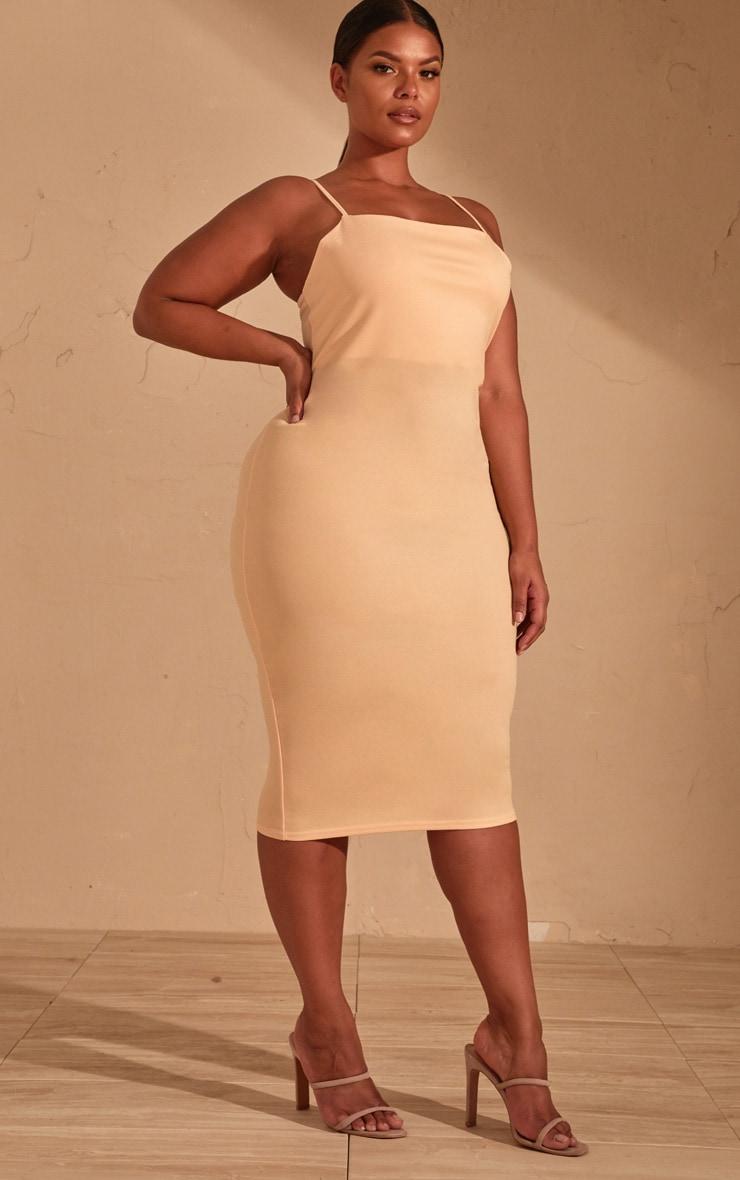 Plus Cream Strappy Midi Dress 4