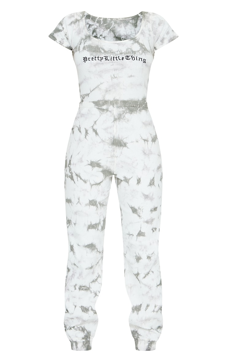 PRETTYLITTLETHING Grey Tie Dye Thick Rib Wide Leg Jumpsuit 5