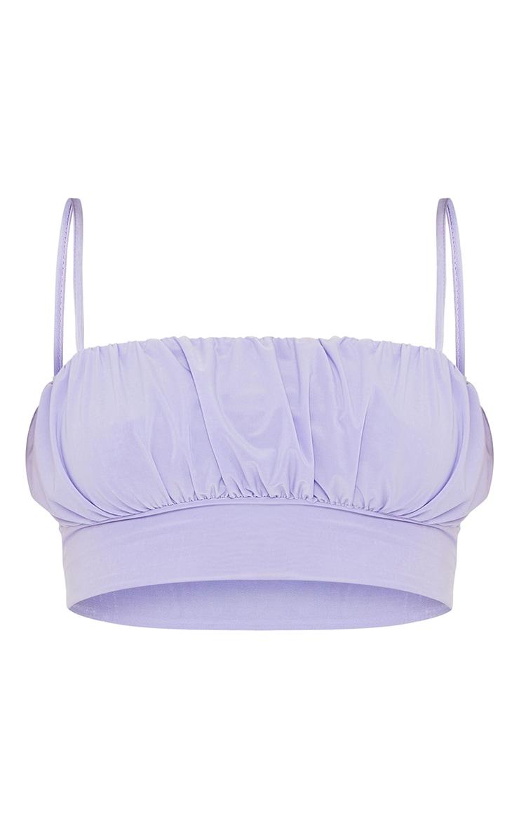 Lavender Slinky Ruched Bust Crop Top 5