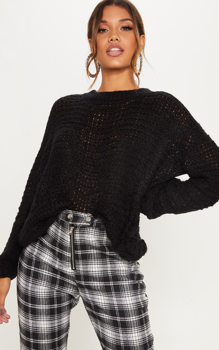 Black Oversized Fluffy Sweater  1