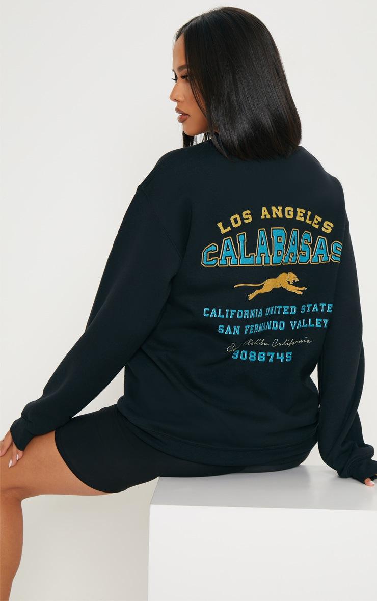 Black Calabasas Print Oversized Sweater 2