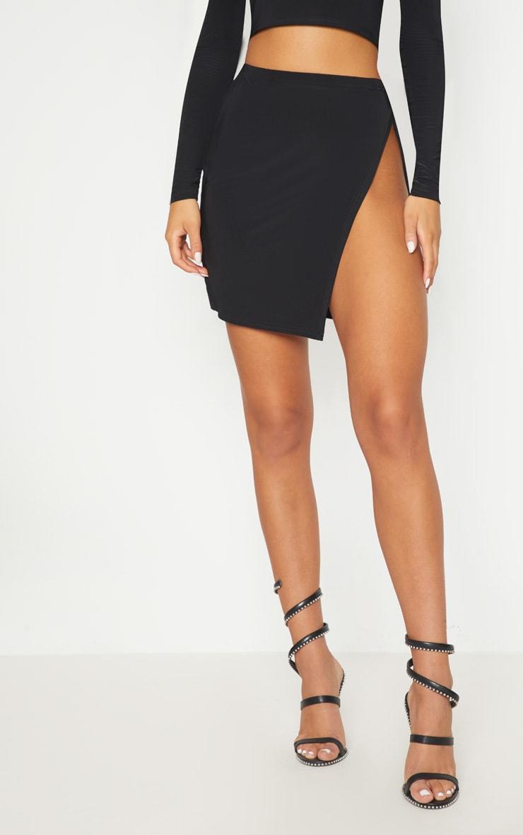 Black Slinky Split Front Mini Skirt 2