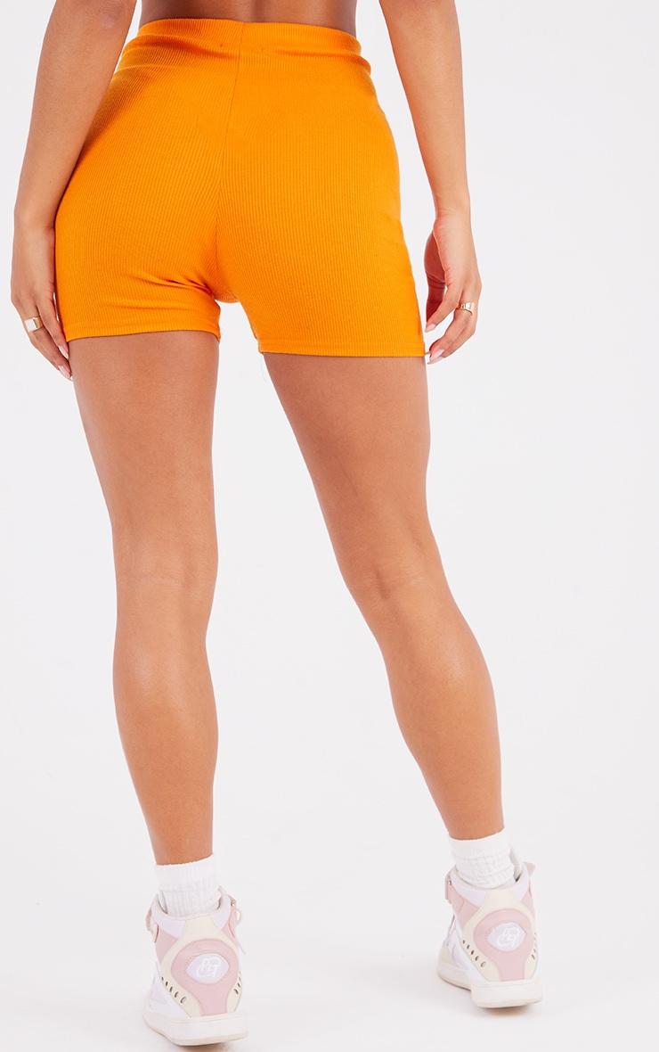 Bright Orange Ribbed Bike Shorts 3