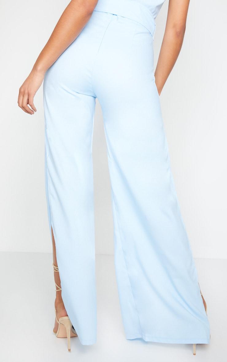 Dusty Blue High Waisted Belt Detail Wide Leg Pants 3