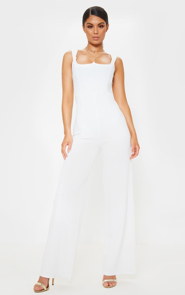 White Structured Bodice Wide Leg Jumpsuit 1