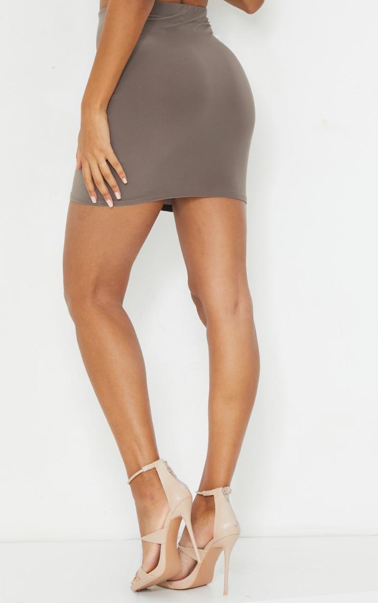 Mocha Slinky Bodycon Mini Skirt 3