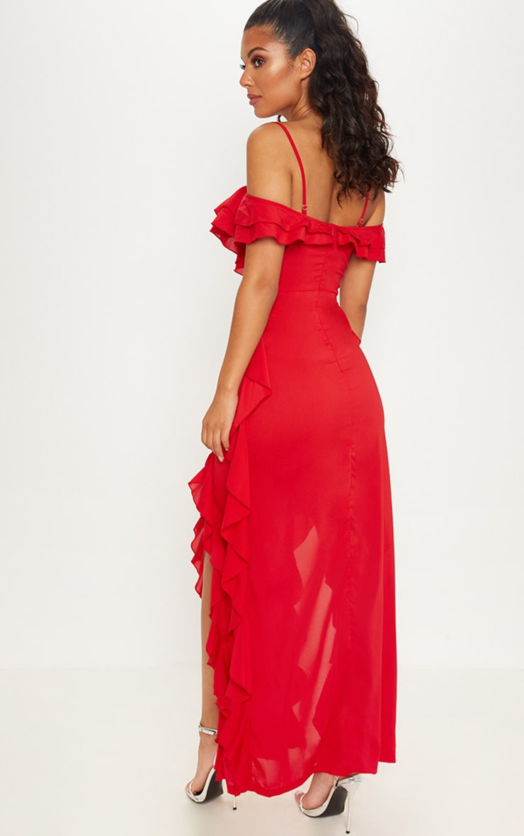 Red Cold Shoulder Ruffle Detail Maxi Dress 3