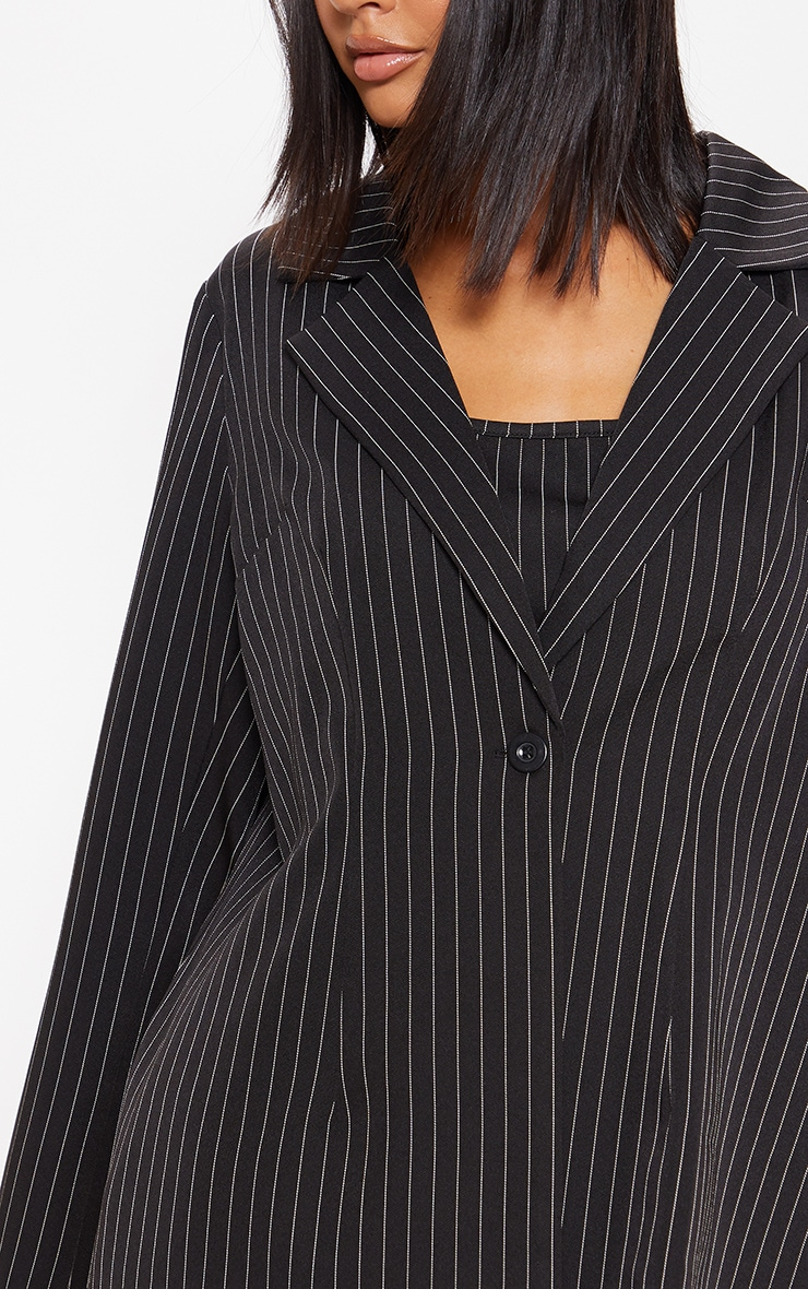 Black Pinstripe Oversized Woven Blazer 5