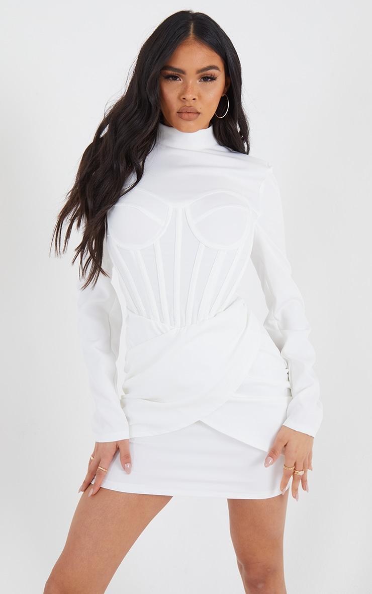 White High Neck Corset Detail Wrap Skirt Bodycon Dress 1