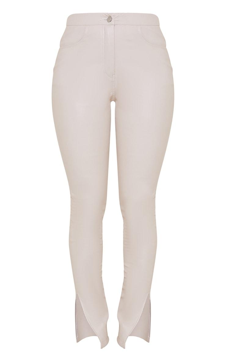 Stone Faux Leather Split Hem Straight Leg Trousers 5