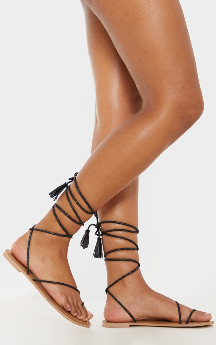 Black Leather Plaited Rope Sandal 1