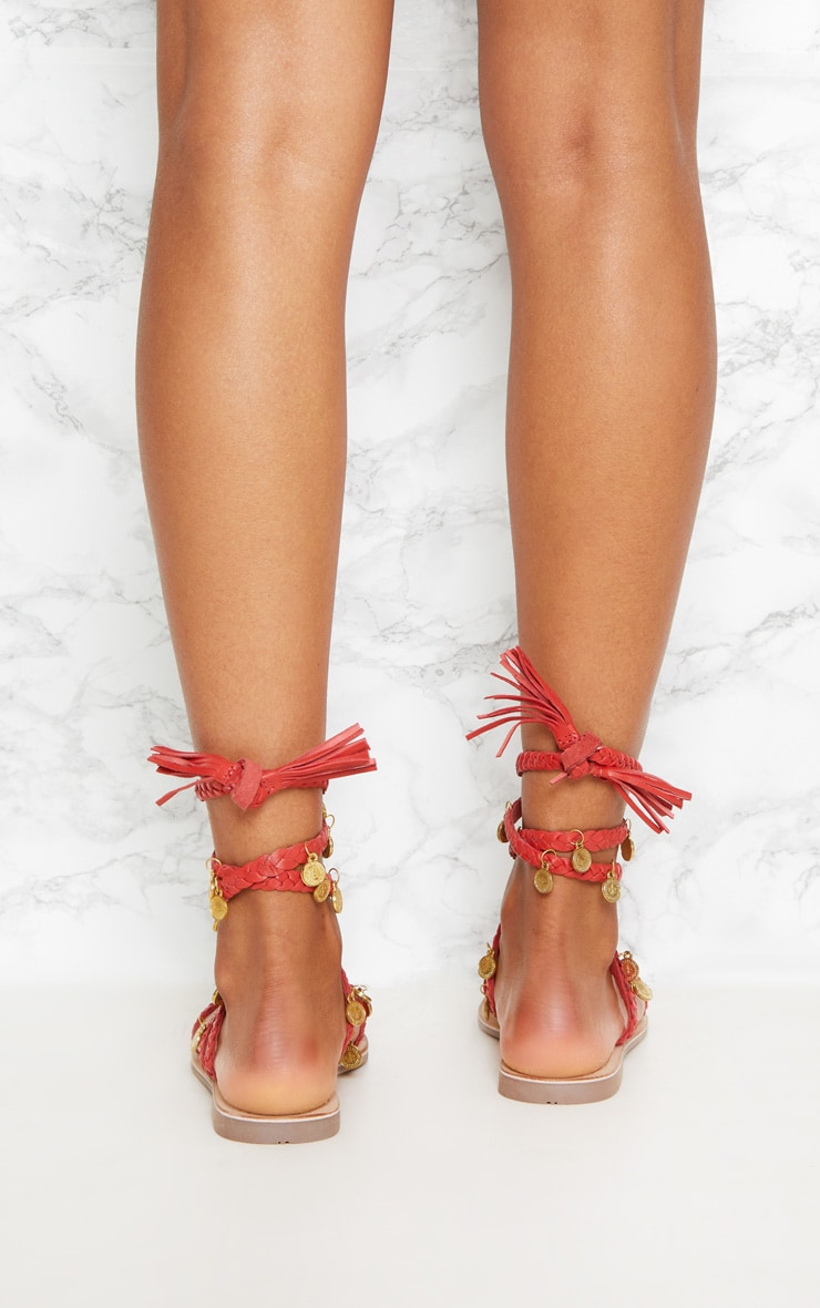 Red Coin Plaited Sandals 4