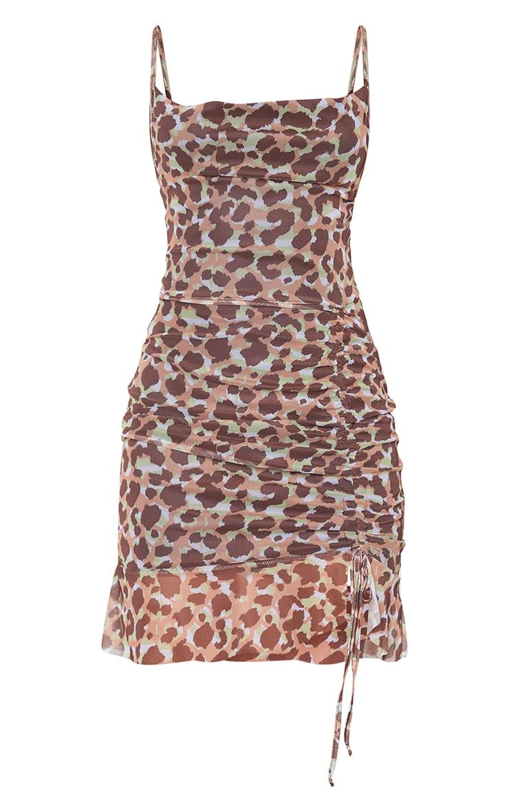 Multi Mesh Leopard Print Ruched Bodycon Dress 5