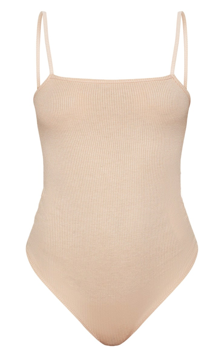Fawn Ribbed Square Neck Thong Bodysuit 3