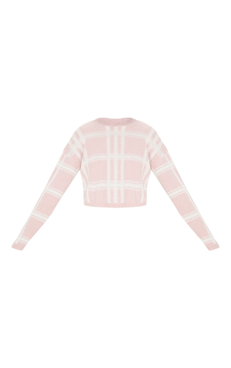 Blush Check Boucle Cropped Jumper 3