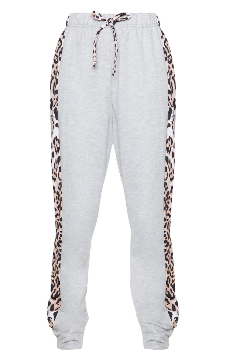 Grey Contrast Leopard Side Stripe Joggers 5