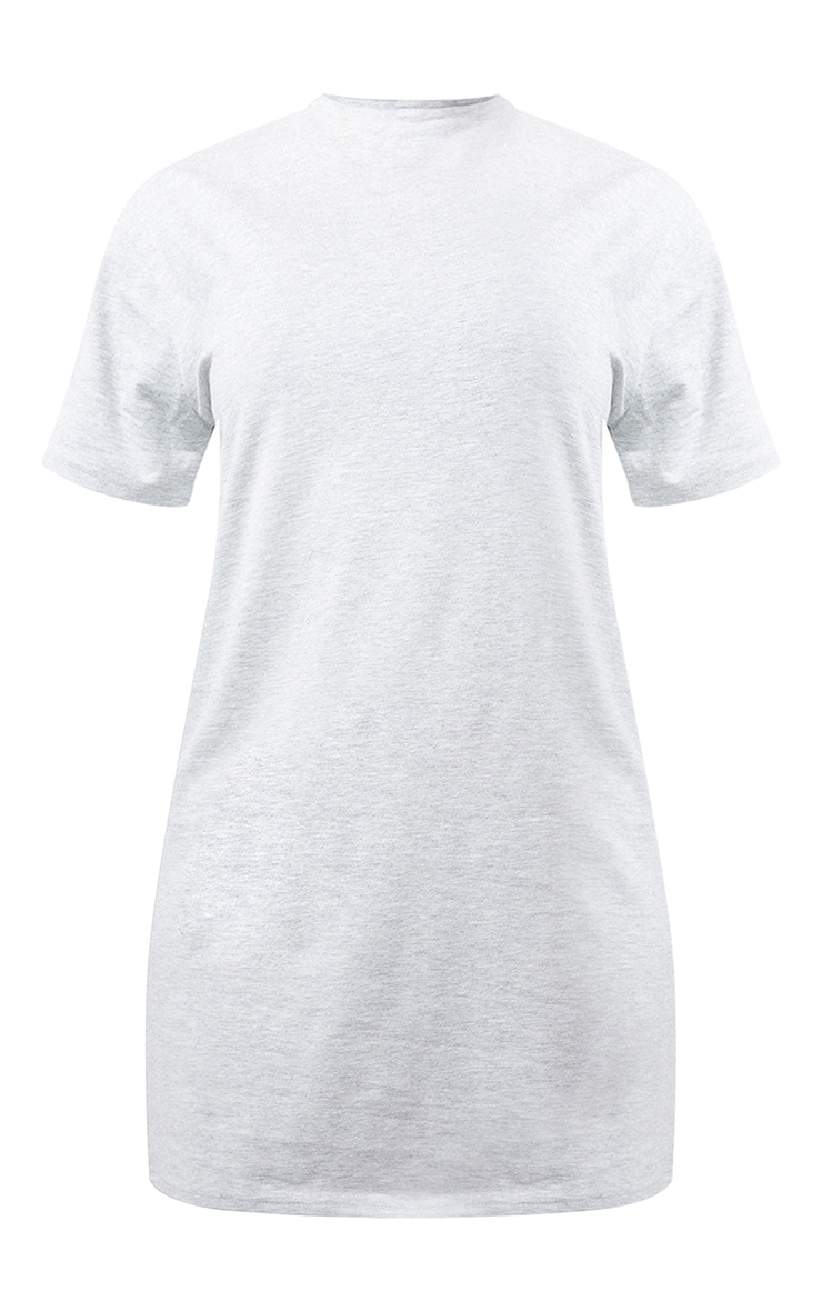 Essential Grey Marl Cotton Blend Basic Fitted T Shirt Dress 5