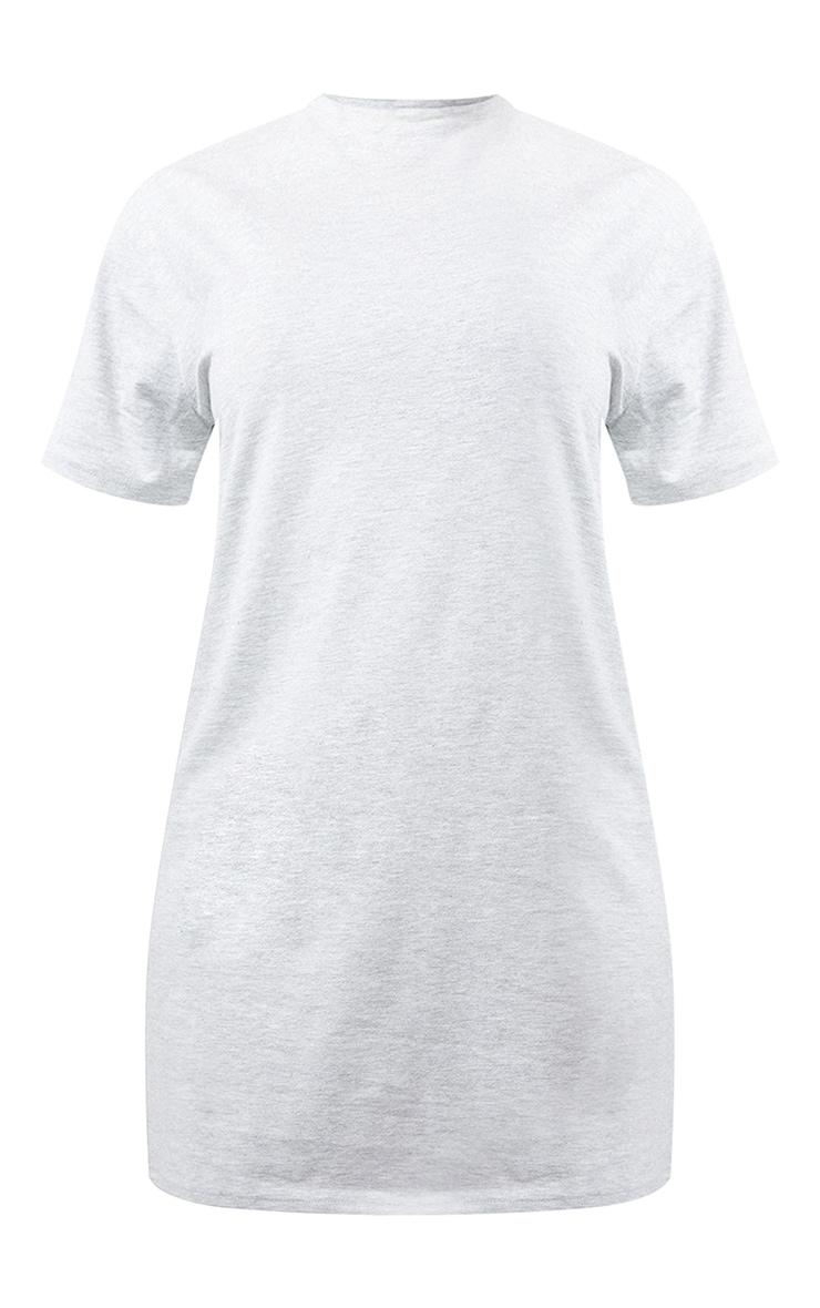 Basic Grey Marl Cotton Blend Basic Fitted T Shirt Dress 5