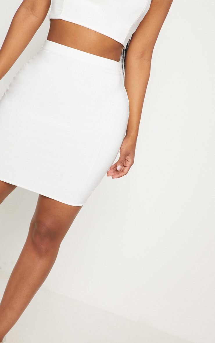 Shape Ivory Slinky Mini Skirt 6