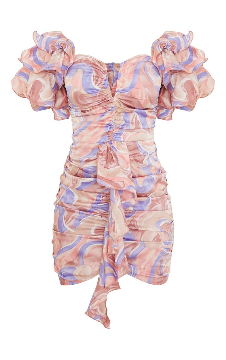 Multi Swirl Print Frill Sleeve V Bar Bodycon Dress 5