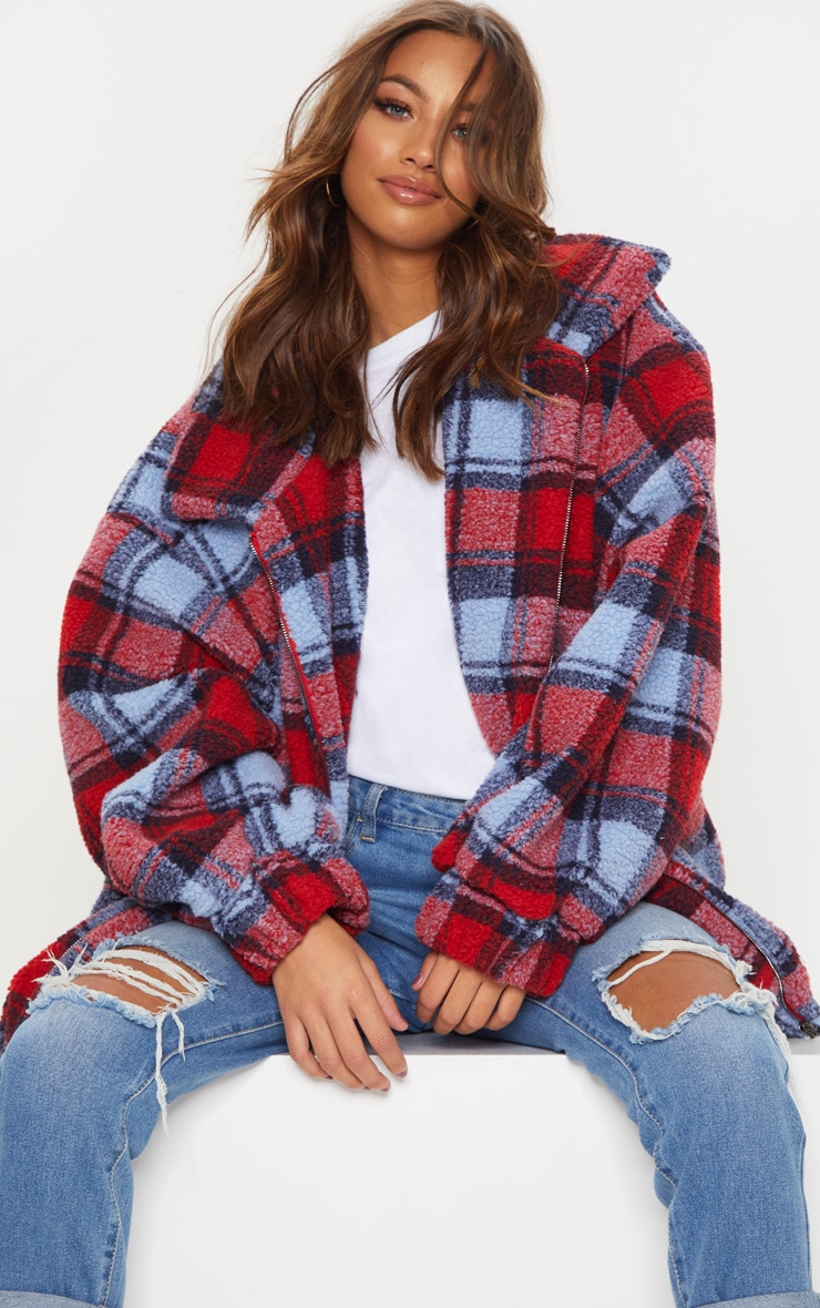 Red Checked Borg Jacket 5