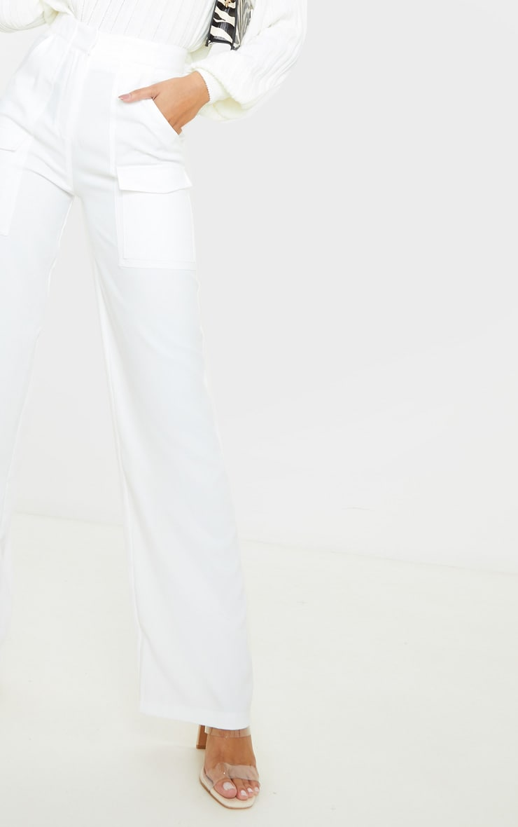 Cream Straight Leg Pocket Pants 5