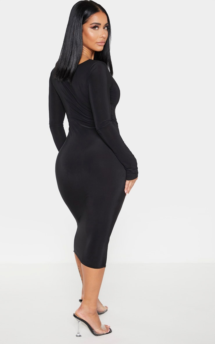 Shape Black Slinky Panelled Long Sleeve Midi Dress 2