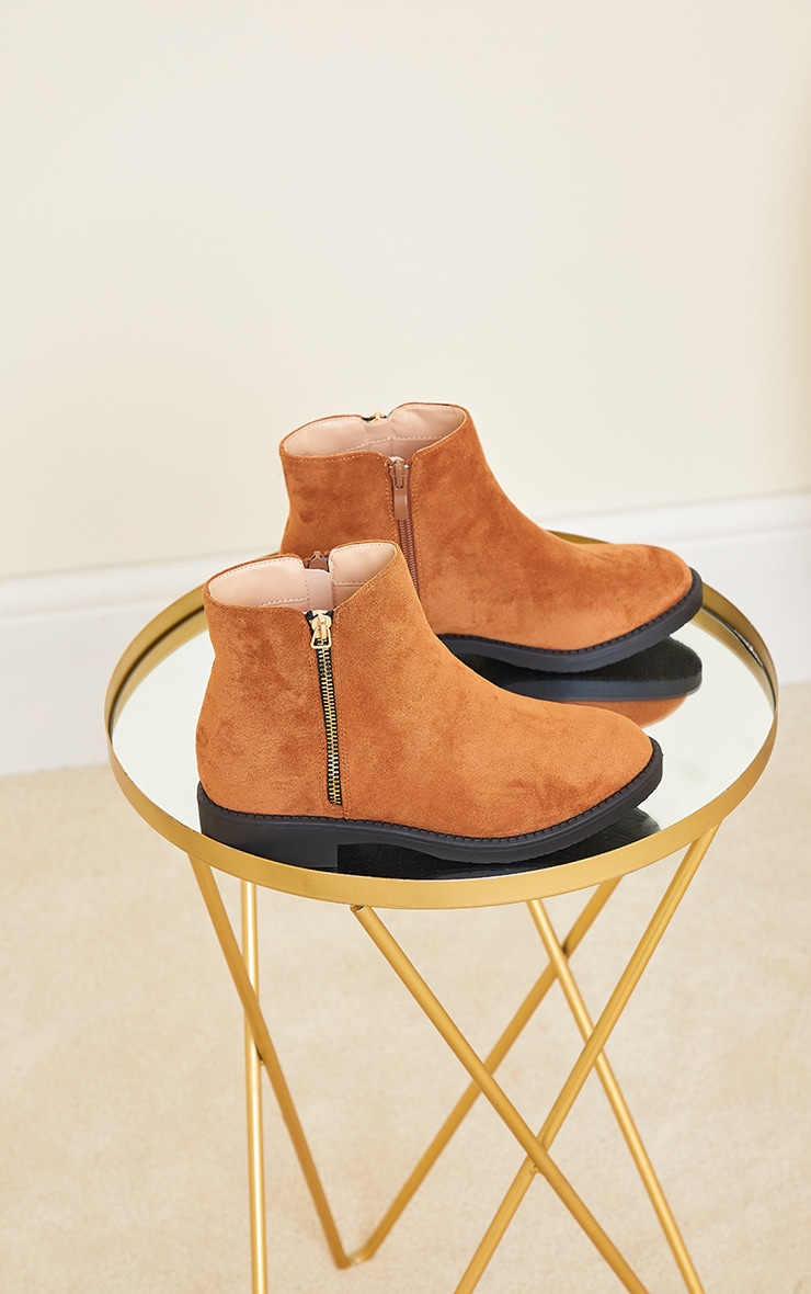 Tan Faux Suede Basic Ankle Boots 4