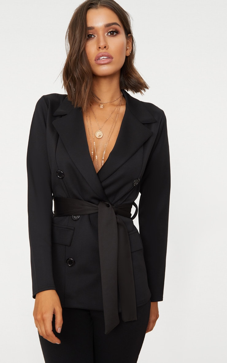 Black Double Breasted Belted Blazer 4