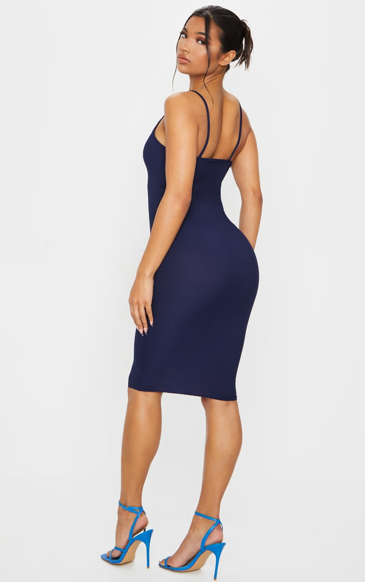 Navy Ribbed Plunge Midi Dress 2