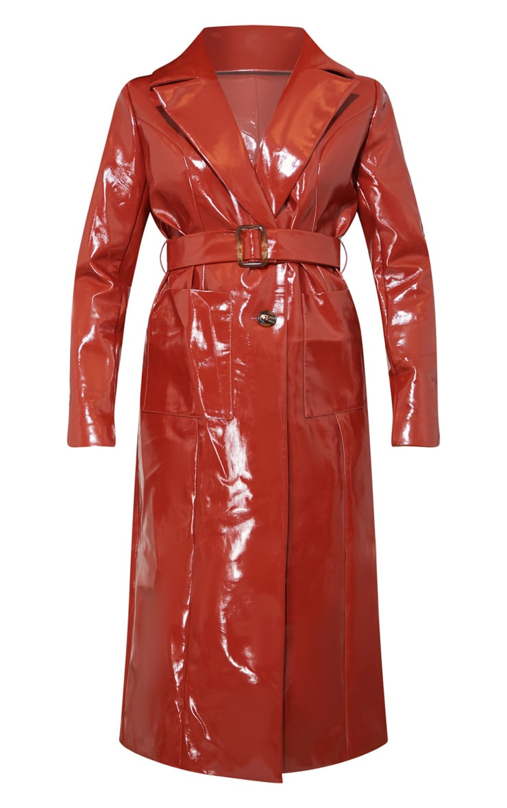 Toffee Vinyl Trench Coat 4