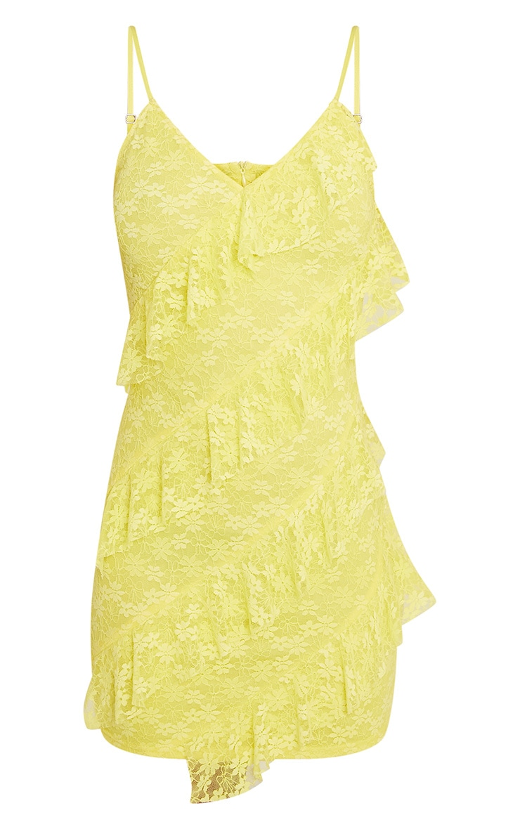 Brittany Yellow Strappy Lace Frill Bodycon Dress 4