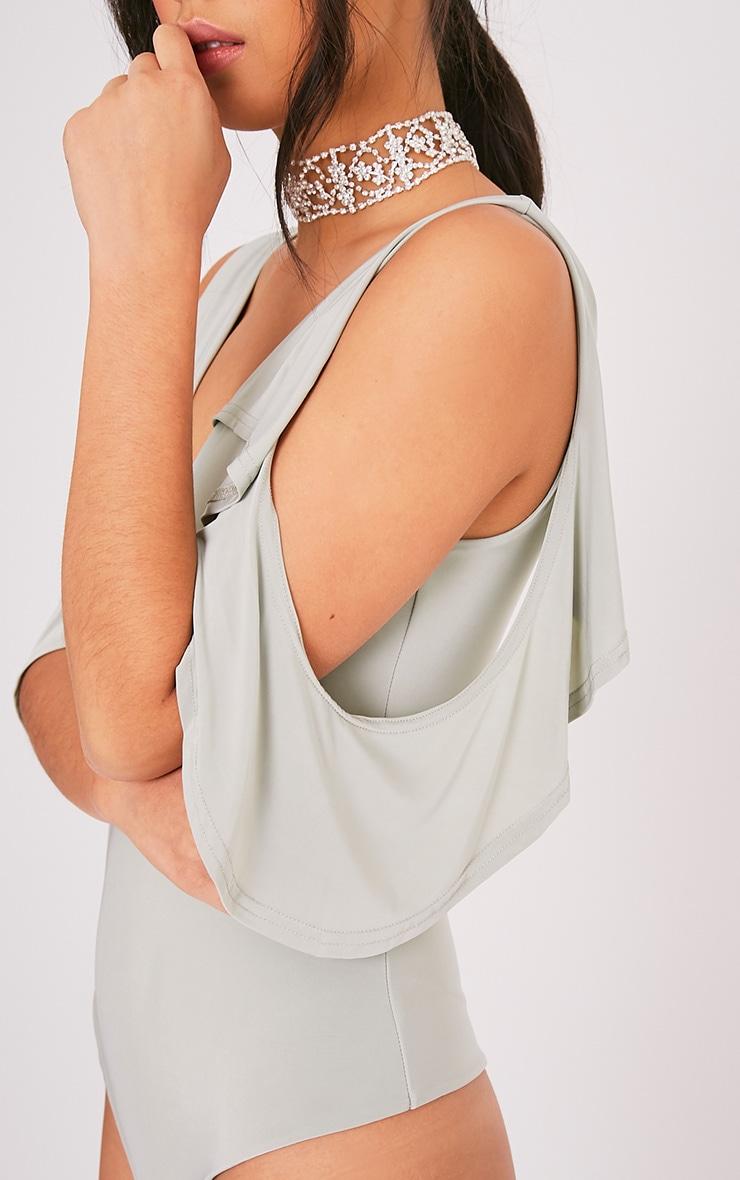 Abiona Sage Green Slinky Cold Shoulder Frill Thong Bodysuit 7