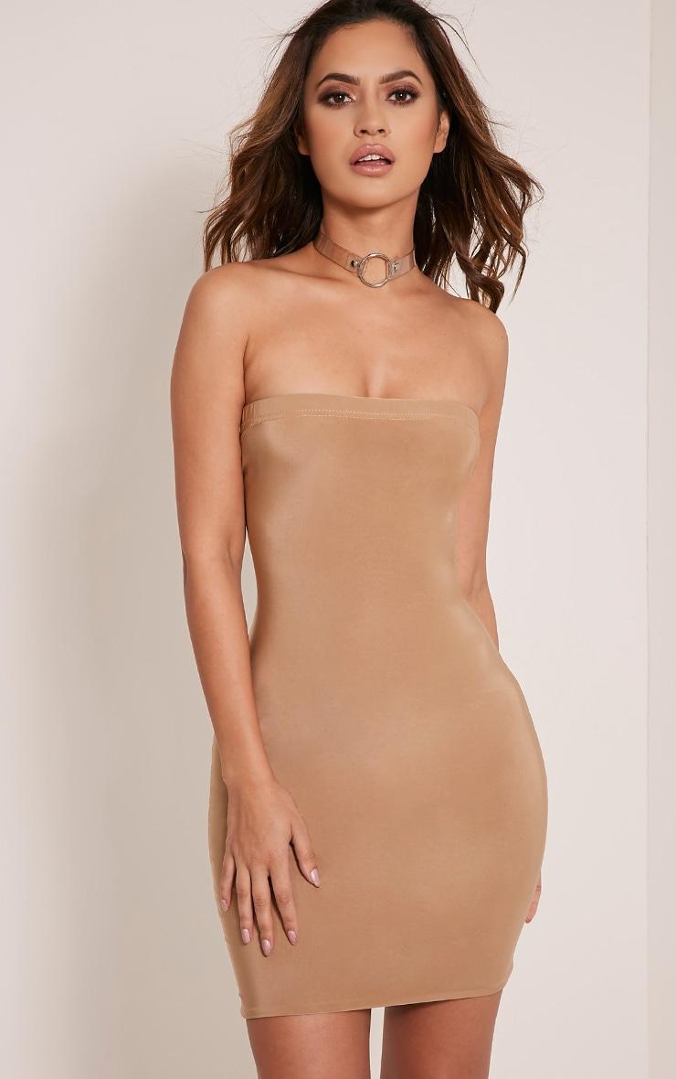 Drita robe moulante près du corps bandeau camel 1