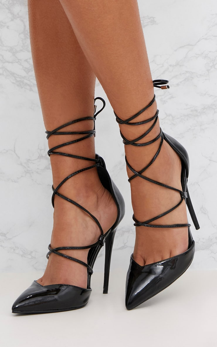 Black Pointed Patent Stiletto Heels 2
