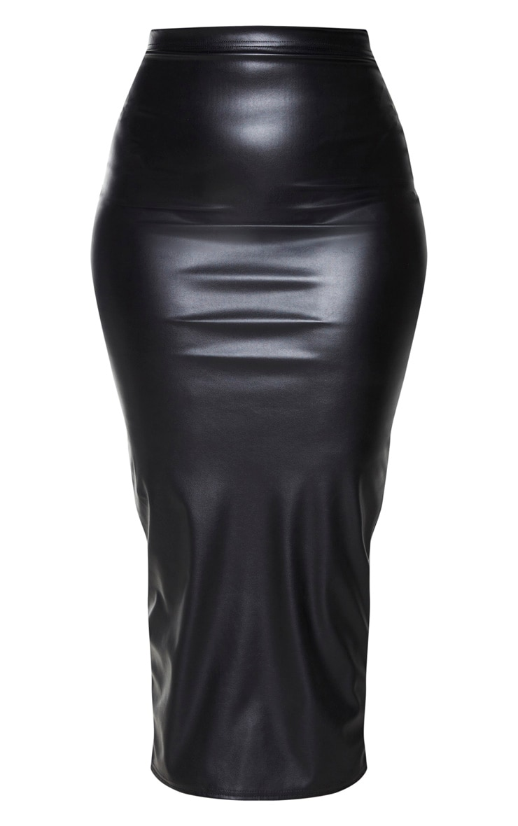 Plus Black PU Split Back Midaxi Skirt 5