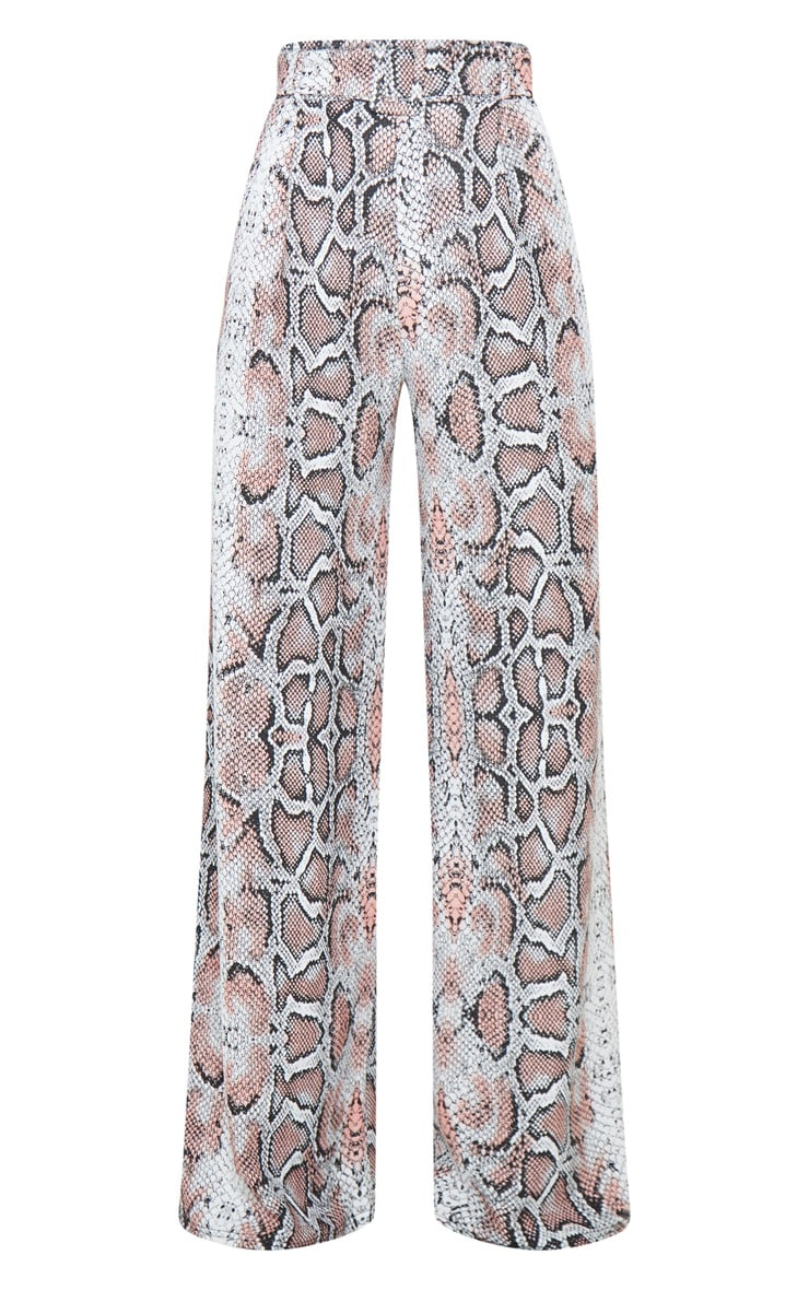 White Snake Belted Wide Leg Trousers 5