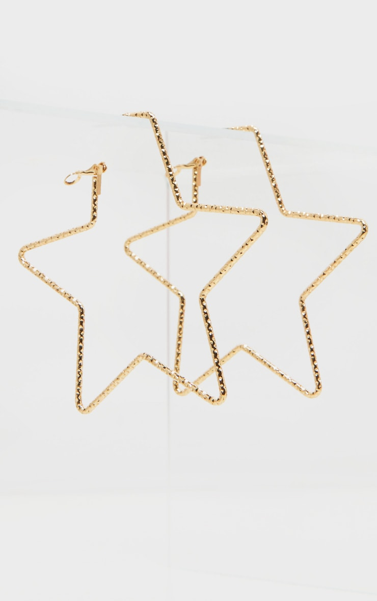 Gold Star Shape Hoop Earrings 2