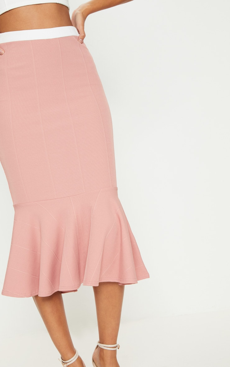 Dusty Pink Bandage Fishtail Midi Skirt 5