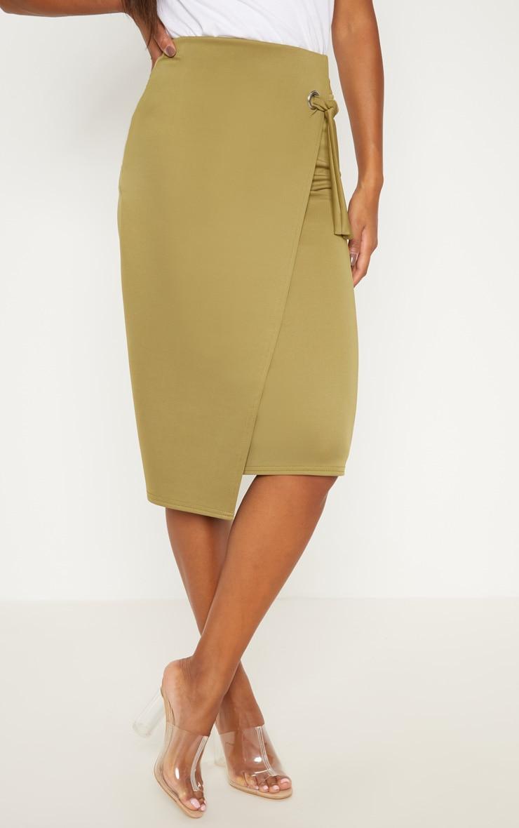 Olive Eyelet Detail Wrap Pencil Skirt 2